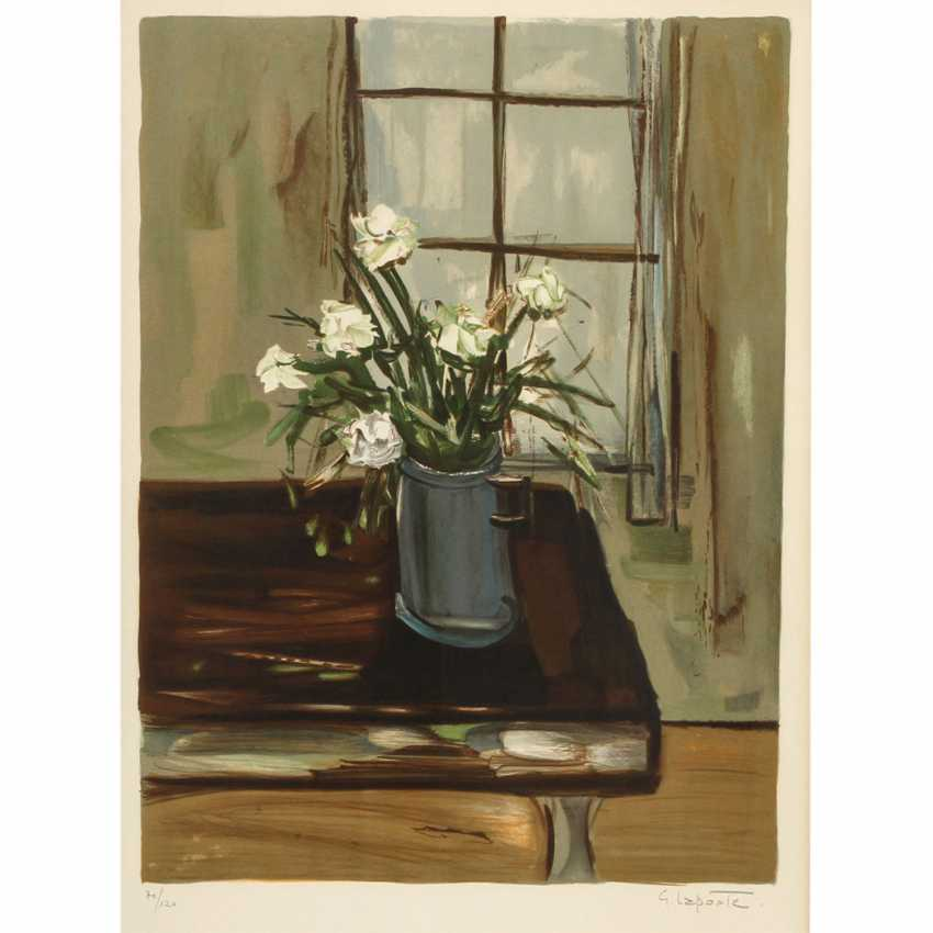 """LAPORTE, GEORGE (Paris, 1926-2000), """"Fleurs"""", still life with flowers in front of the window, - photo 1"""