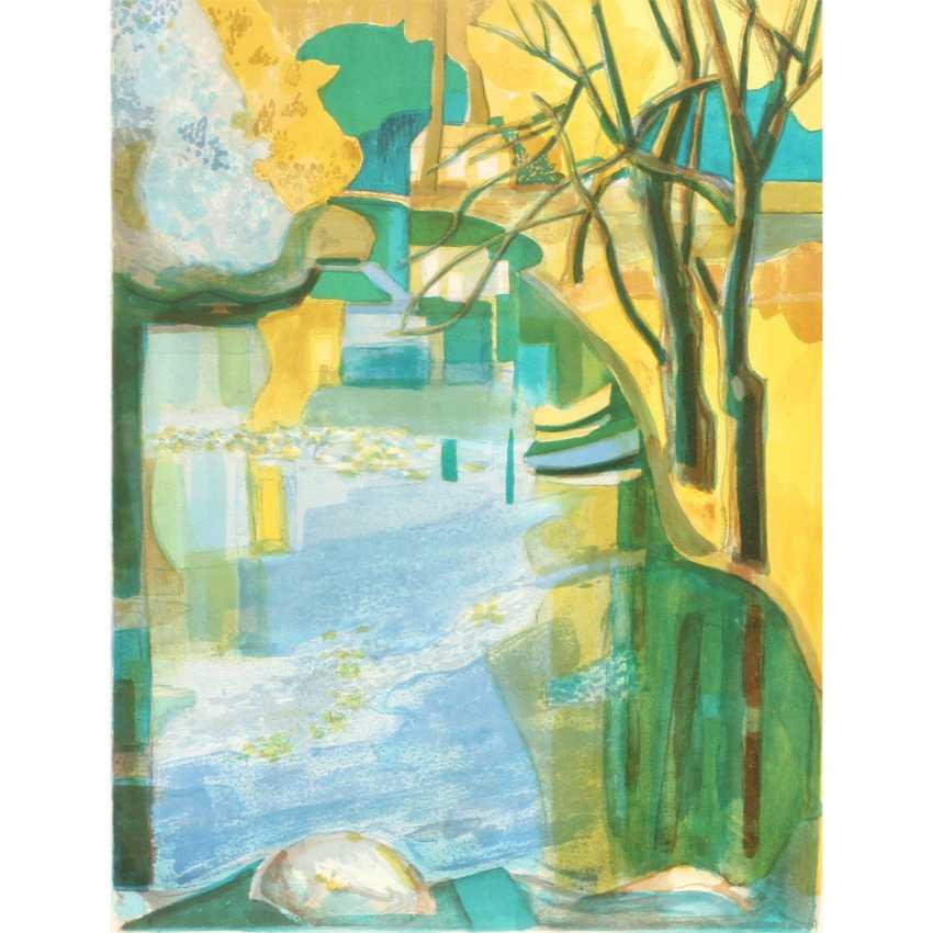 "LAMBERT, GEORGE (1919-1998, French artist), ""trees on a lake"", - photo 1"