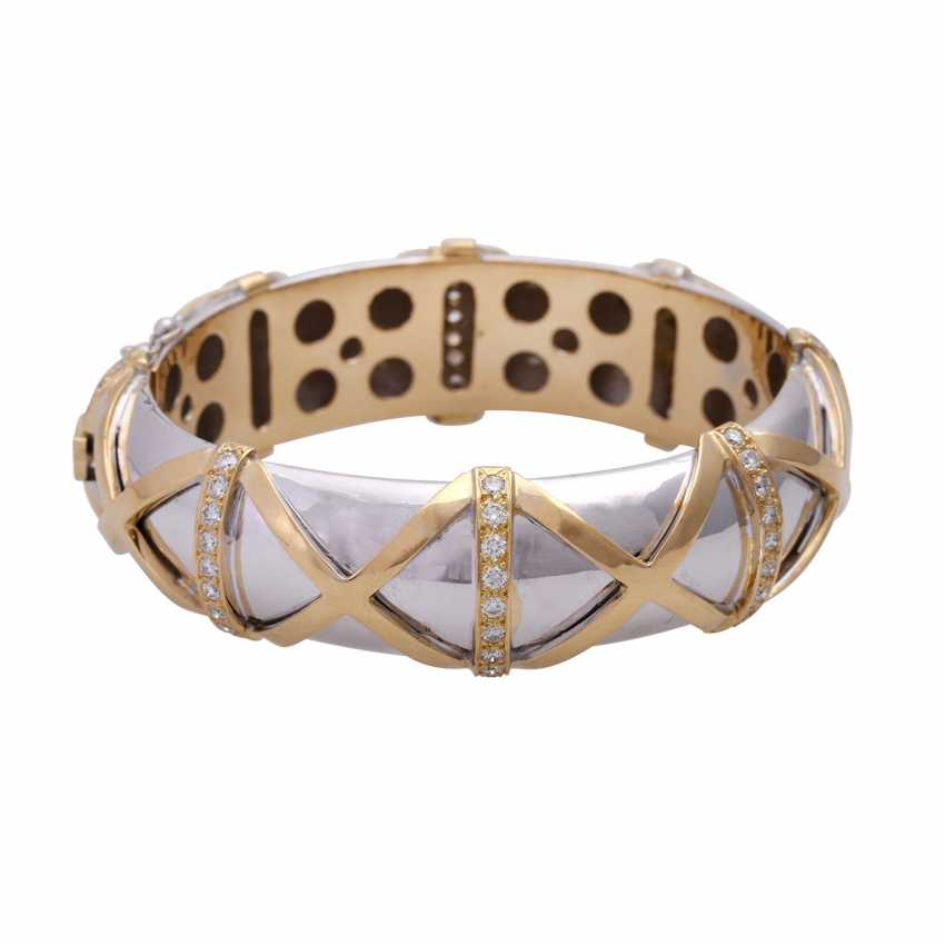 Bangle bracelet with cross band decor and 69 brilliant-cut diamonds - photo 1