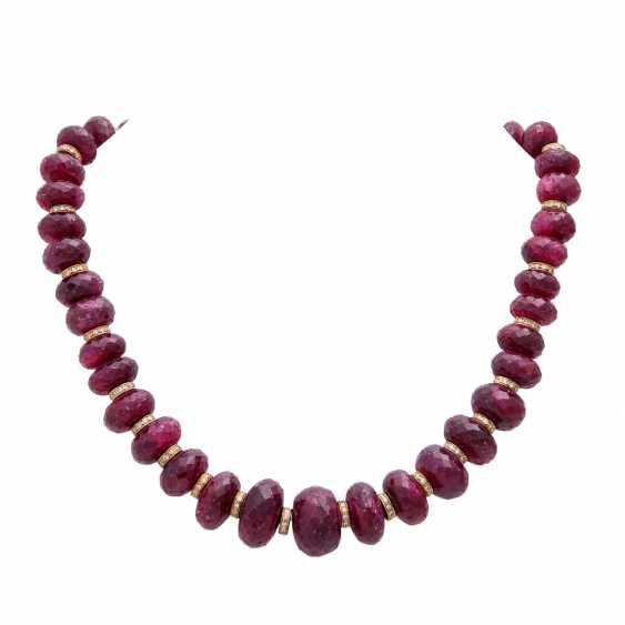Necklace made of faceted ruby lenses - photo 1