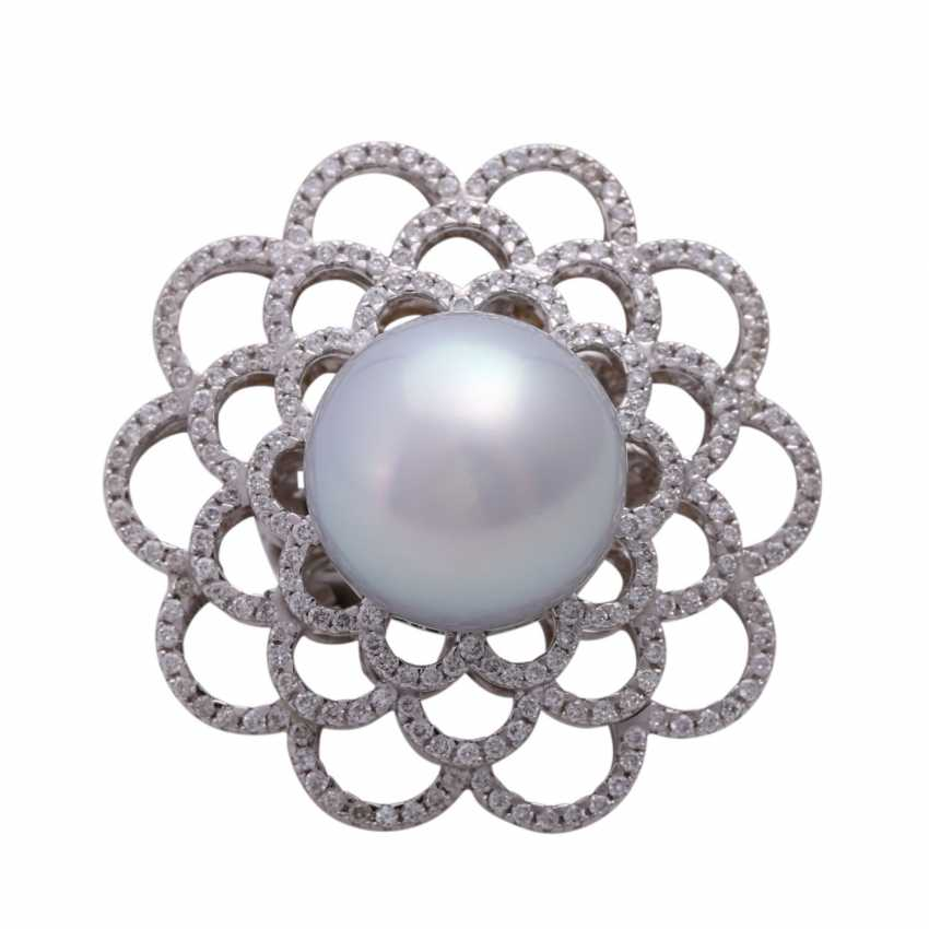 Ring with large South sea cultured pearl - photo 1