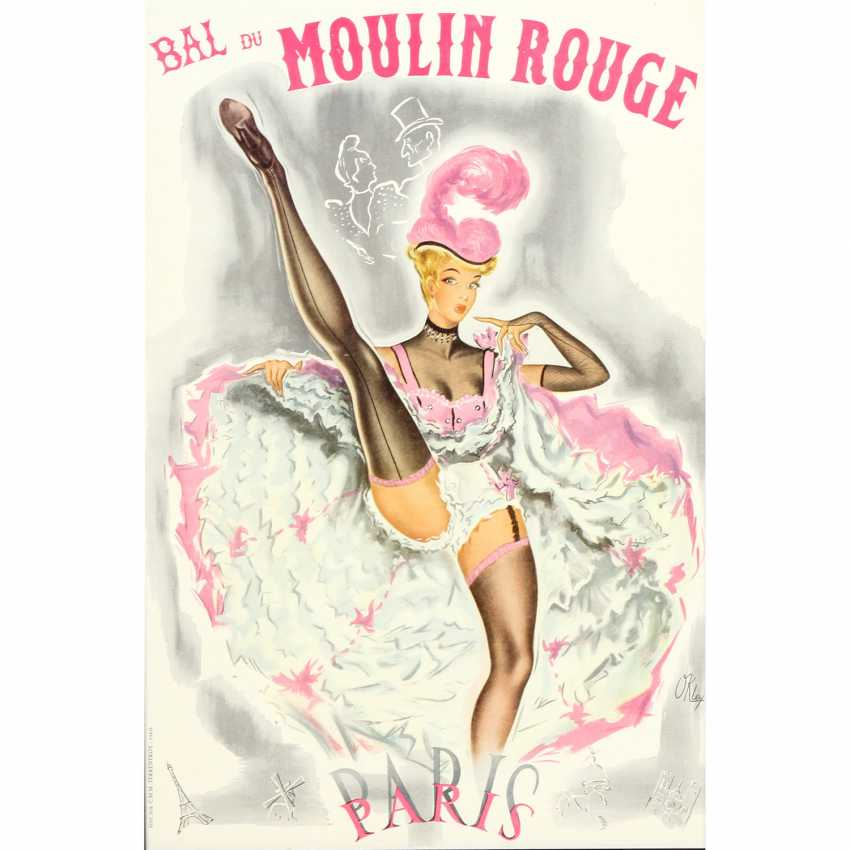 """Poster for the Show, """"BAL DU MOULIN ROUGE"""", 1930's, design by PIERRE OKLEY, - photo 1"""