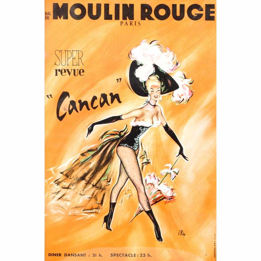 """Poster for the Show, """"BAL DU MOULIN ROUGE - SUPER REVUE CANCAN"""", 1950/60s, the design of PIERRE OKLEY, - photo 1"""