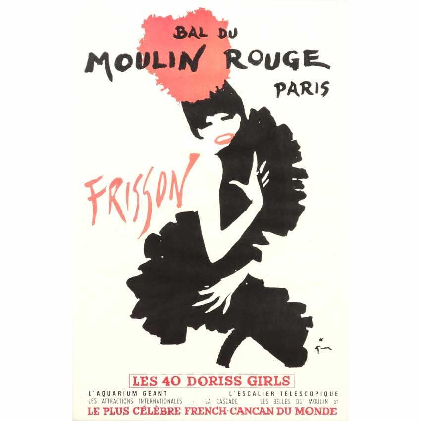 """Plakat zur Show """"BAL DU MOULIN ROUGE - THRILL"""", Moulin Rouge Paris, 1965, Entwurf RENÈ GRUAU, - photo 1"""