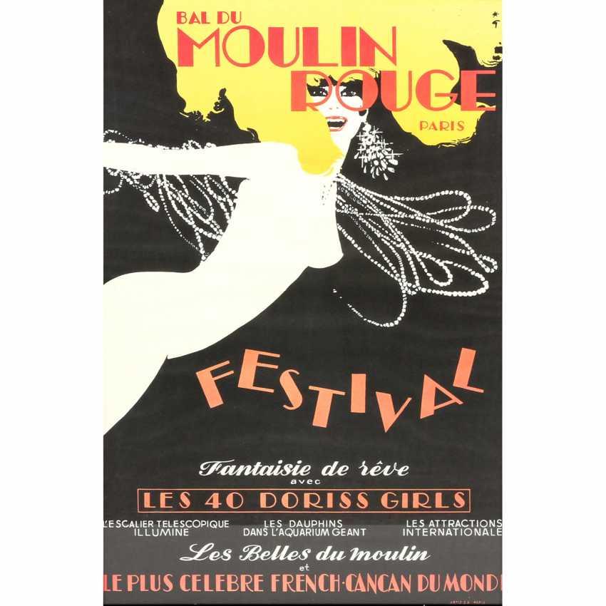 """Poster for the Show, """"BAL DU MOULIN ROUGE FESTIVAL"""", Paris, 1973, design, RENÈ GRUAU, - photo 1"""