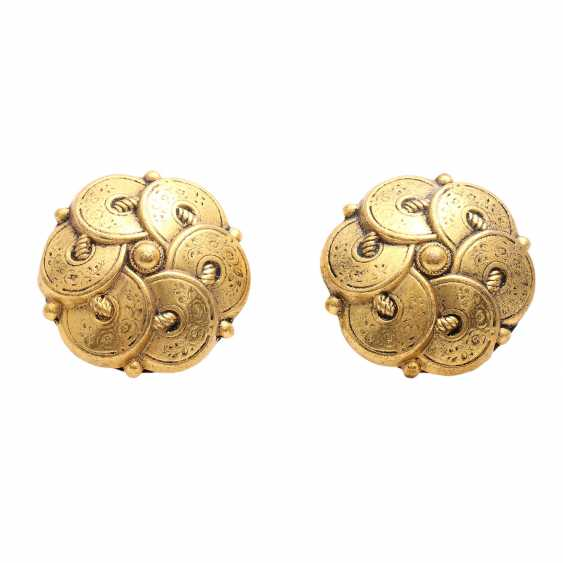 MOROCCO/LEBANON REVUE Pair of costume jewelry clip-on earrings, 1960s - photo 1