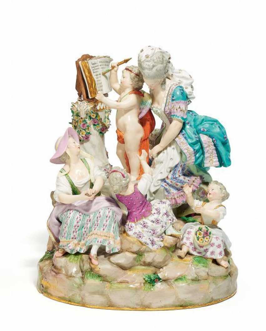 Great GROUP 'love lessons'. Meissen. 19. Century. Model By M. V. Acier.