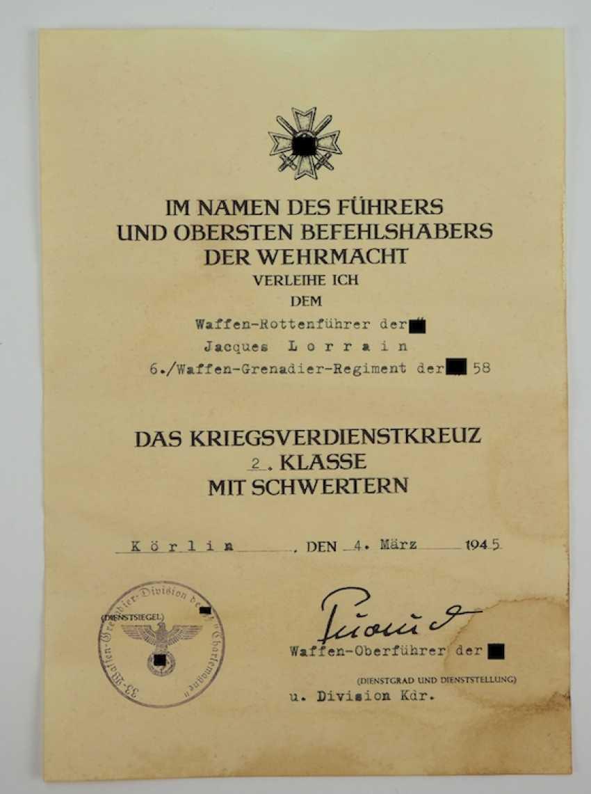 Kriegsverdienstkreuz, 2. Klasse mit Schwertern Urkunde für einen ...
