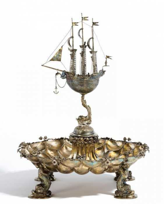 MONUMENTAL CENTREPIECE WITH A SAILING SHIP. J. L. Schlingloff, Hanau, Germany, and Jakob Grimminger