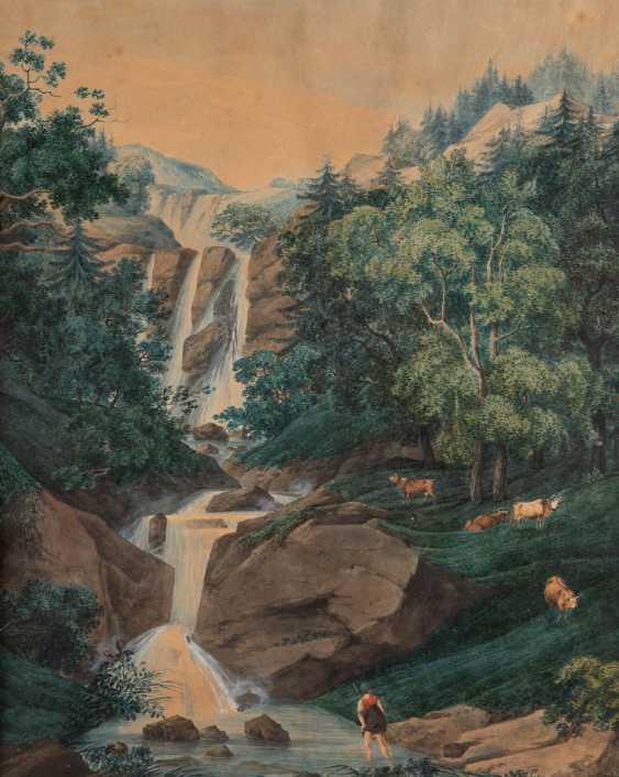 KARL LUDWIG HACKERT (CIRCLE) 1740 Prenzlau - 1796 Morges/Switzerland AT the waterfall - photo 1