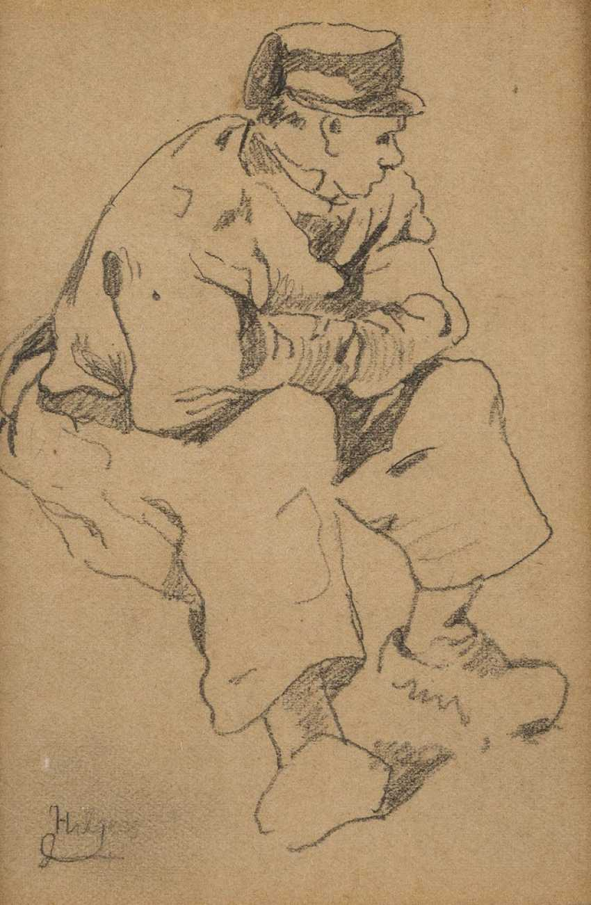 TWO DRAWINGS - STUDY OF A SEATED AND THE SHOW-GAME BREAK - photo 1
