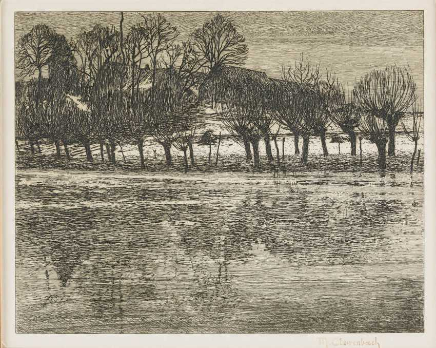 MAX Clare Bach 1880 Neuss - 1952 Wittlaer TWO WORKS: THE RHINE AT NEUSS AND head grazing THE net - photo 1