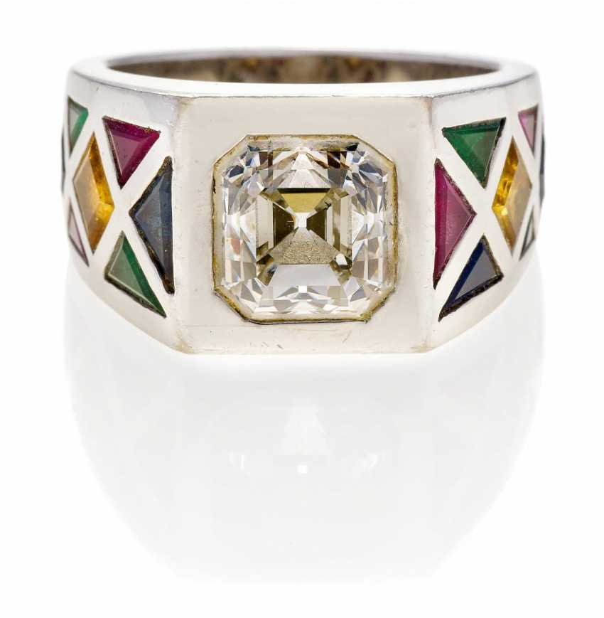 Diamond Color Stone Ring.  - photo 1