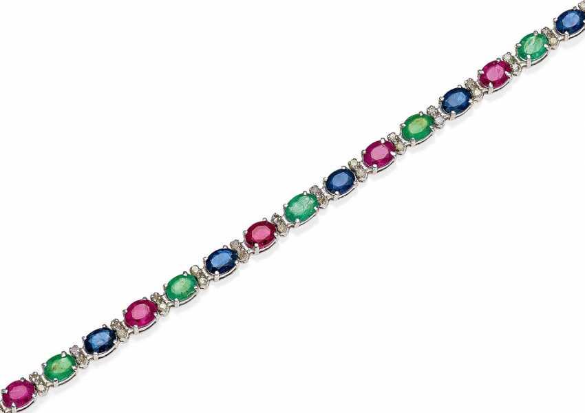 Color Stone Diamond Bracelet.  - photo 1