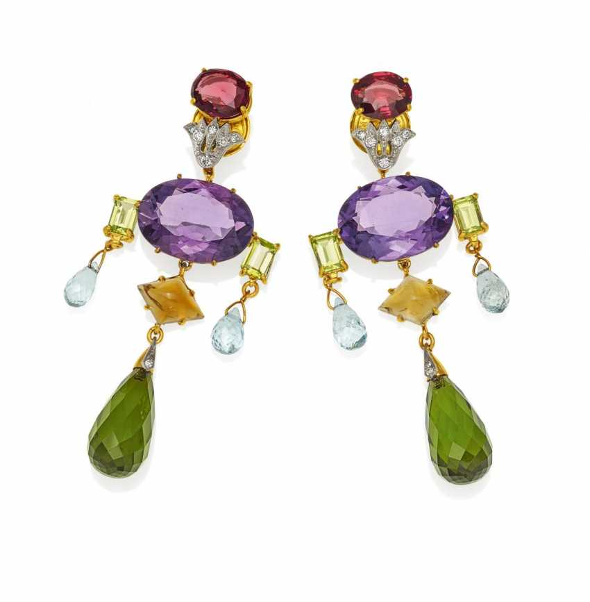 Color Stone Drop Earrings.  - photo 1