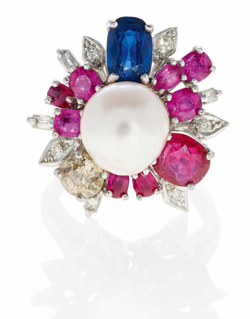 Color Stone Diamond Ring.  - photo 1