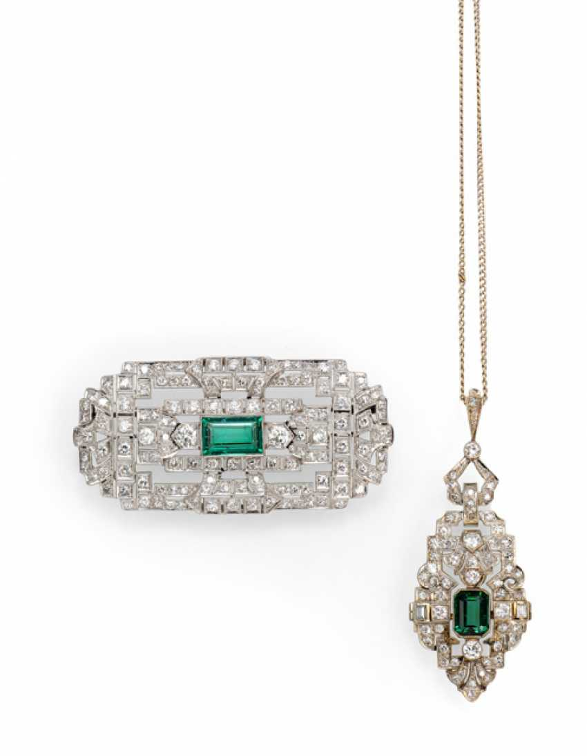 Pendant and brooch with diamonds and tourmaline - photo 1