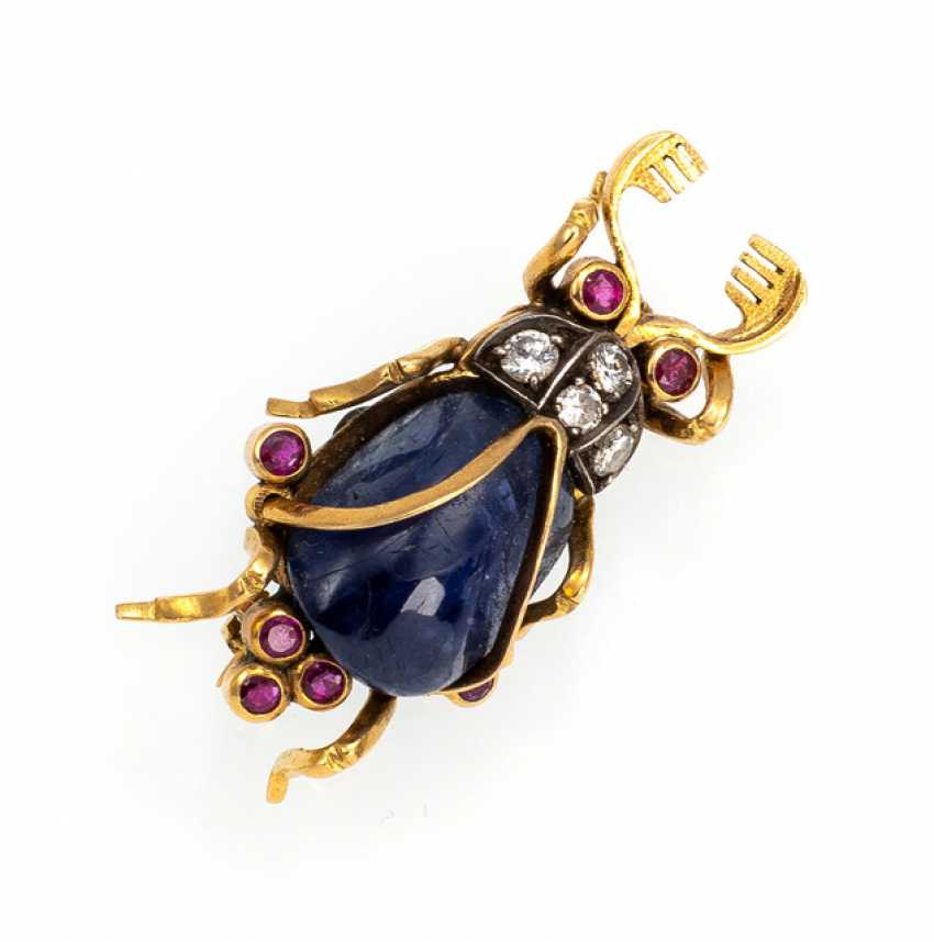 Beetle brooch with sapphire - photo 1