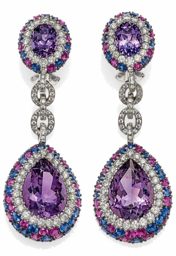 Amethyst-Diamond-Ohrsteck Clips.  - photo 1