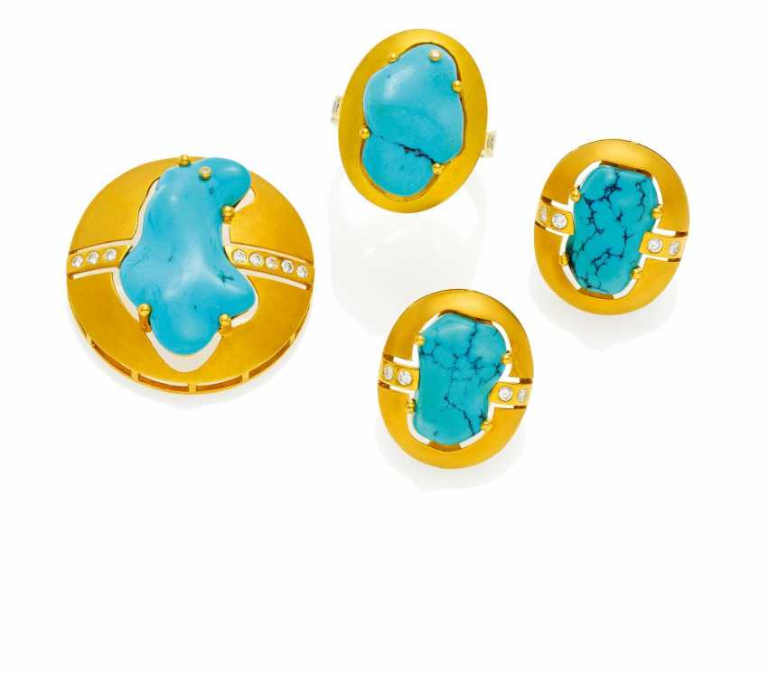Turquoise-and-diamond Set: Ring, brooch and ohrsteck clips.  - photo 1