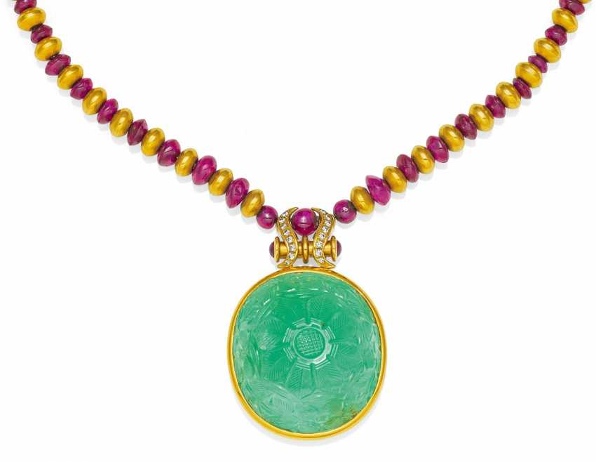 Emerald-Ruby-Necklace.  - photo 1
