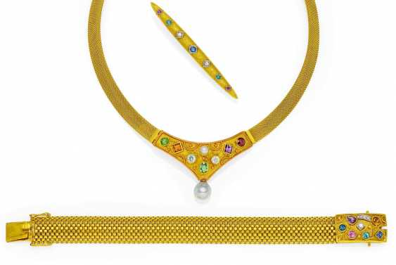 Color stone diamond Set: necklace, needle, and bracelet.  - photo 1