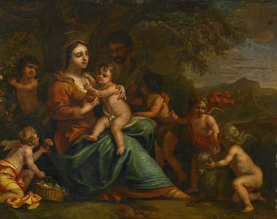 Graat, Barend. Holy family in Italia, was the landscape of cherubs surrounded. - photo 1