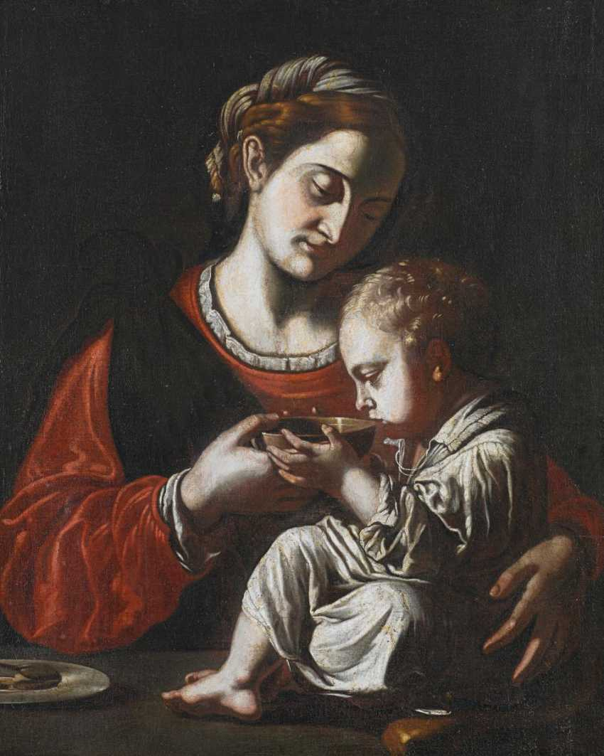 The Neapolitan Master. Madonna with a bowl of drinking Christ child. - photo 1