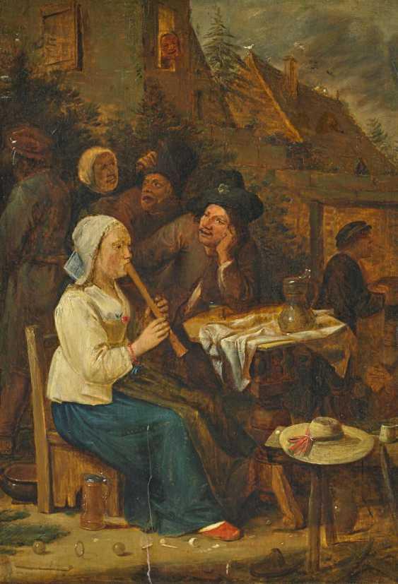 Craesbeeck (Craesbeke), Джос Ван. Голландская деревня фестиваль флейта играя женщину. - фото 1