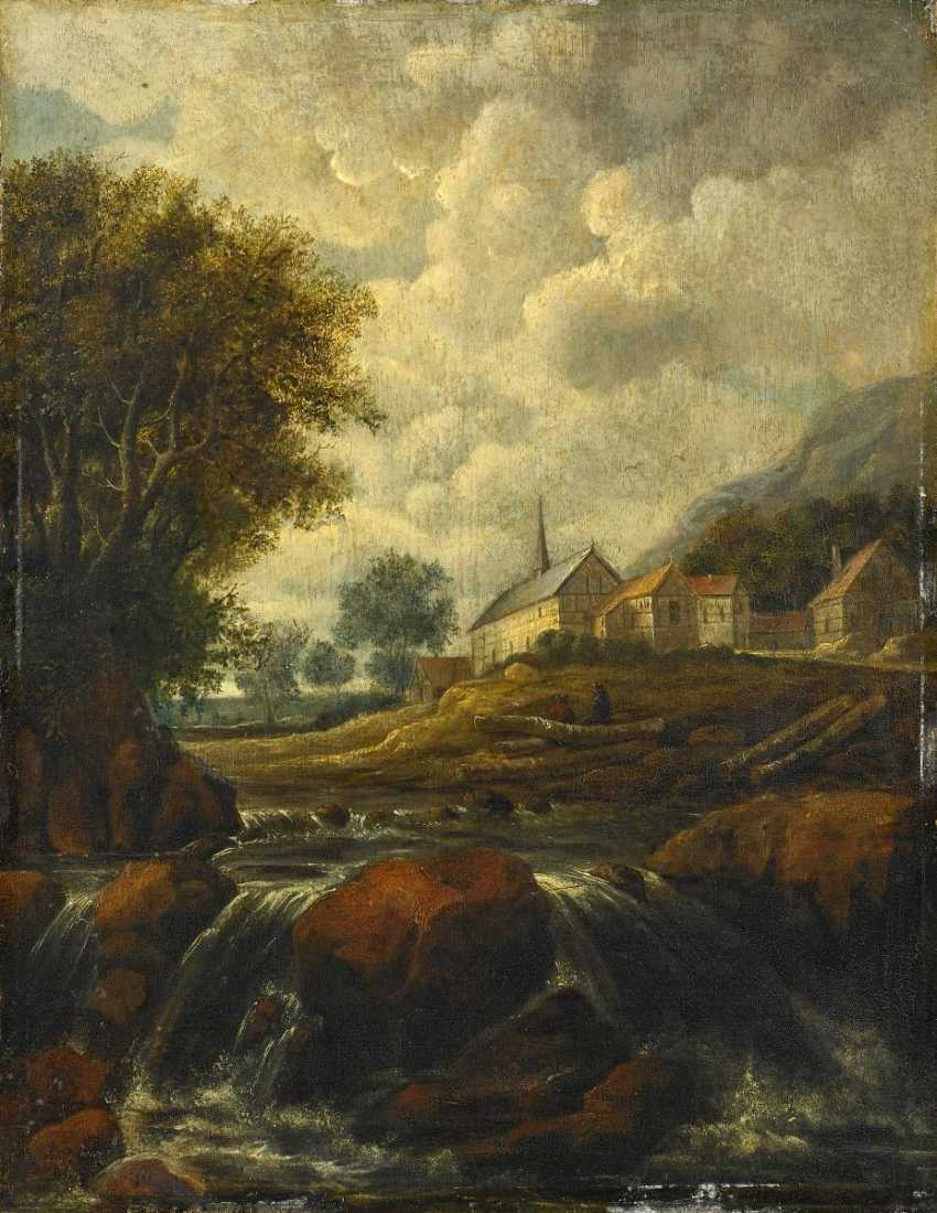 Ruisdael, Jacob Isaackszoon van. Landscape with a waterfall and a Church. - photo 1