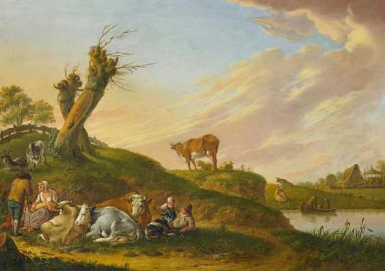 Schweickhardt, Heinrich Wilhelm. Shepherds with their cattle under the willow trees. - photo 1
