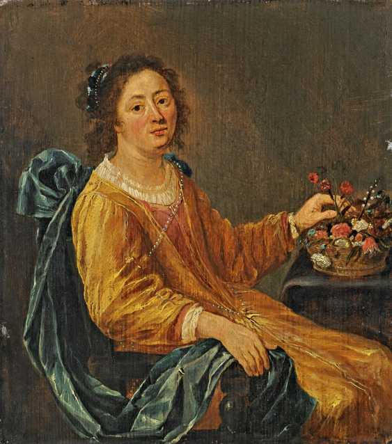 Dutch Champion. Portrait of a seated lady with a flower basket. - photo 1