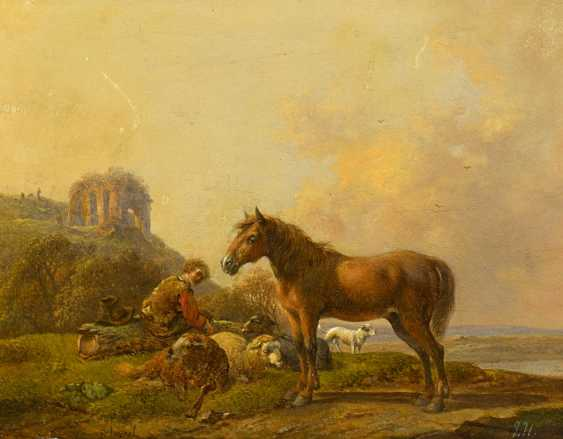 The Dresden School. Two paintings: the shepherds with their cattle in Arcadian landscapes. - photo 2