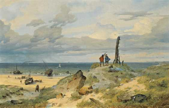 Achenbach, Andreas. Sunny day on the Dutch coast with fishermen on the beach. - photo 1