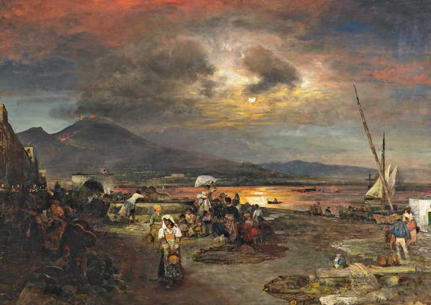 Achenbach, Oswald. The night market on the beach in front of Naples. - photo 1