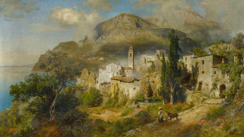 Leu, August Wilhelm. Italian coastal landscape near Naples. - photo 1