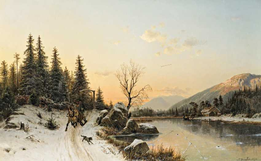 Duntze, Johannes Bartholomäus. Norwegian winter landscape with horse-drawn sleigh. - photo 1