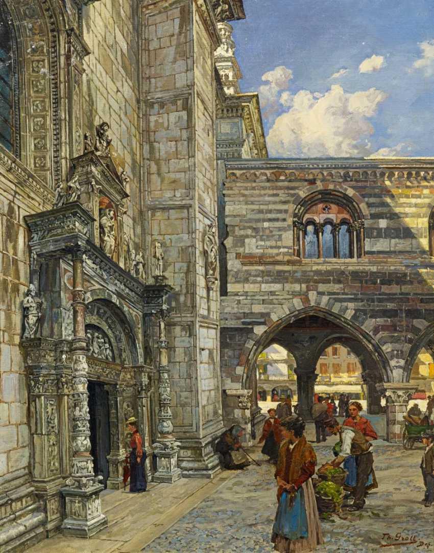 Обиды, Теодора. Трейдер перед боковым порталом собора в Комо. - фото 1