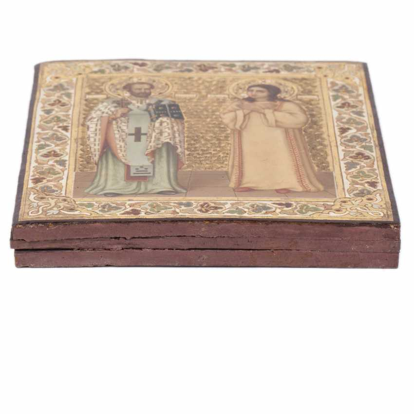 Icon of art Nouveau, St. John Chrysostom and the Holy Martyress Iraida