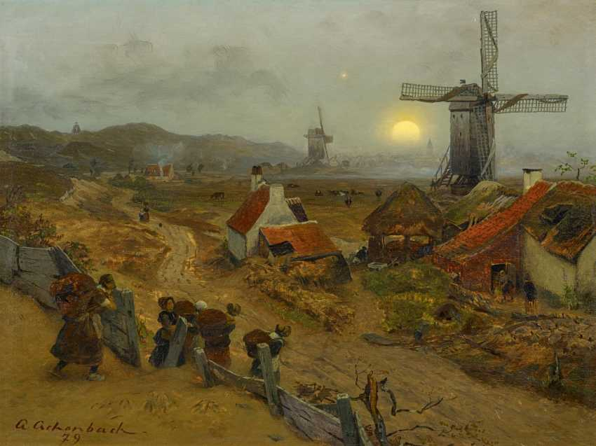 Achenbach, Andreas. Fishermen's wives on their return to the village. - photo 1