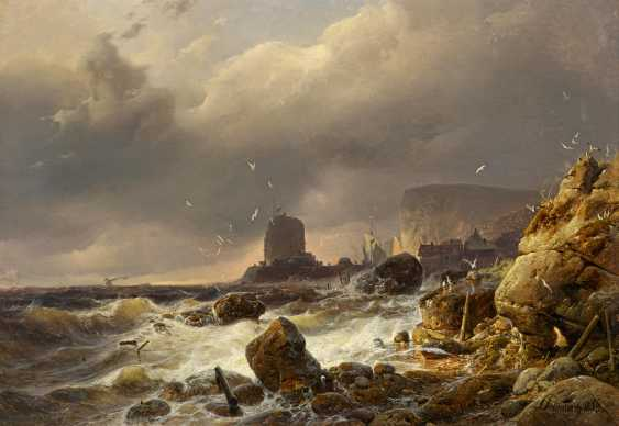Achenbach, Andreas. Rocky coast in a storm. - photo 1
