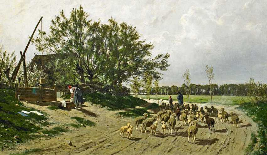 Malchin Carl Wilhelm Christian. Landscape in Mecklenburg, with a shepherd and his flock. - photo 1