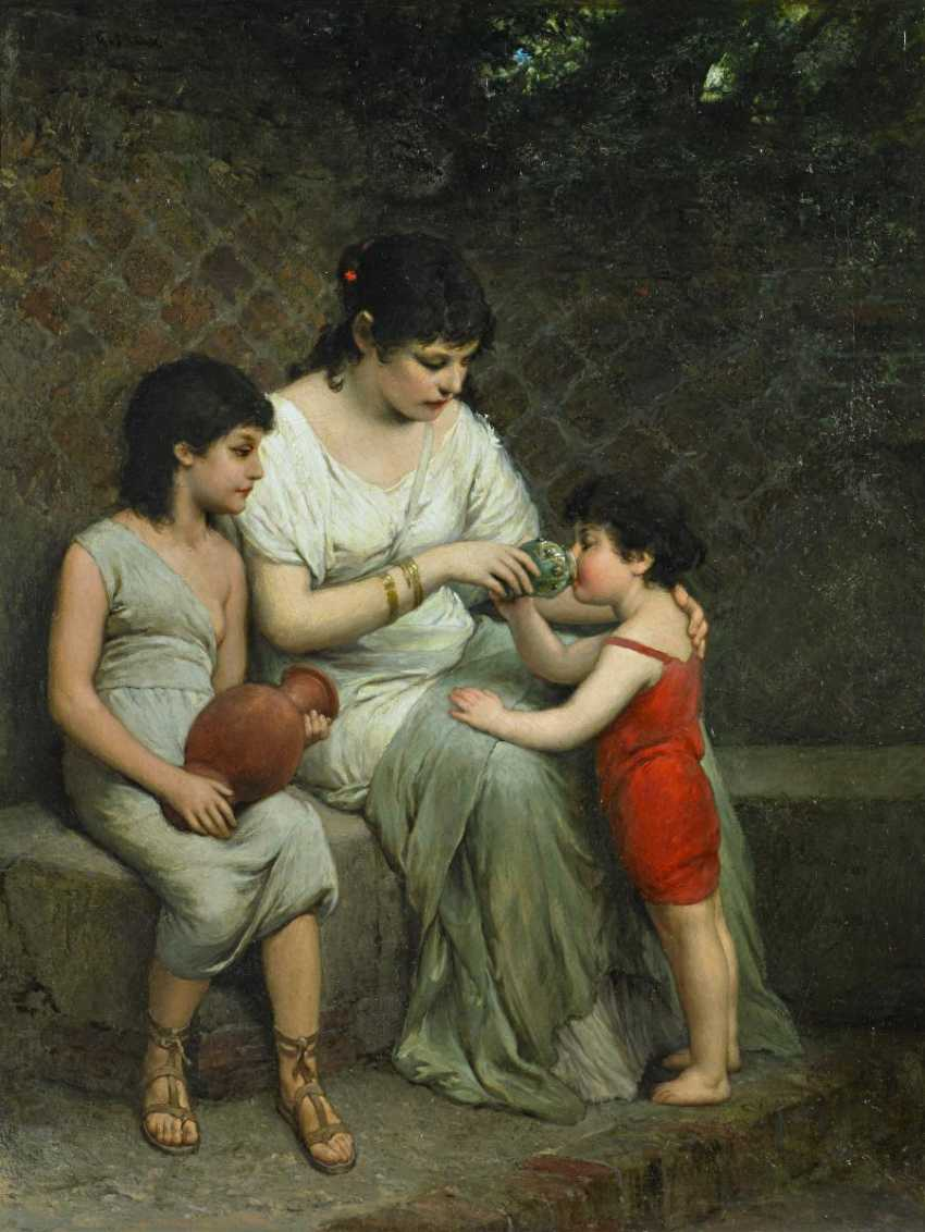 Max, Gabriel Cornelius von. Mother in antikten robe with their two children. - photo 1