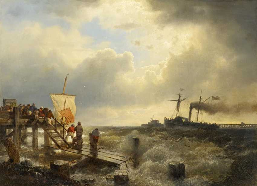Achenbach, Andreas. Stormy day at the port entrance. - photo 1