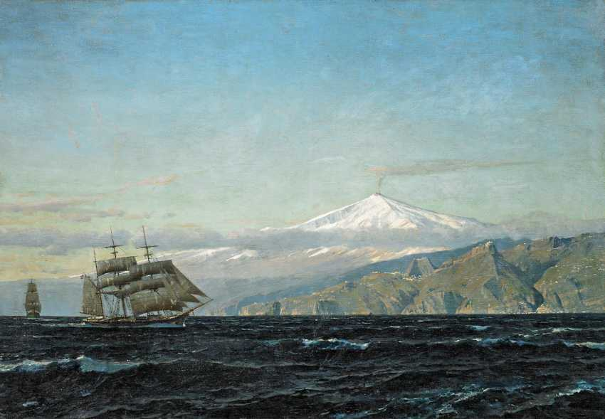 Diemer, Michael Zeno. Three-masted barques in front of Sicily with views of mount Etna. - photo 1