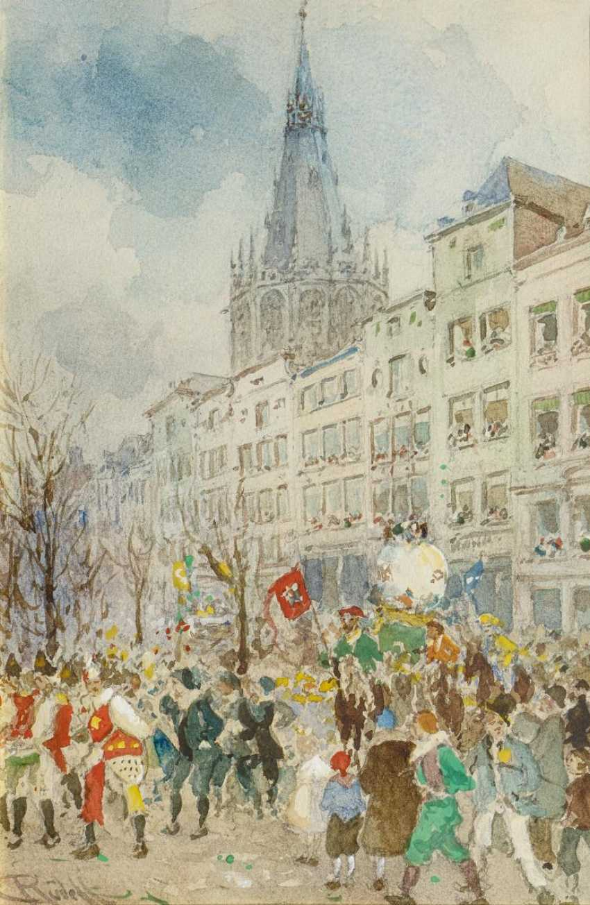 Rüdell, Carl. Carnival parade on the old market in Cologne. - photo 1