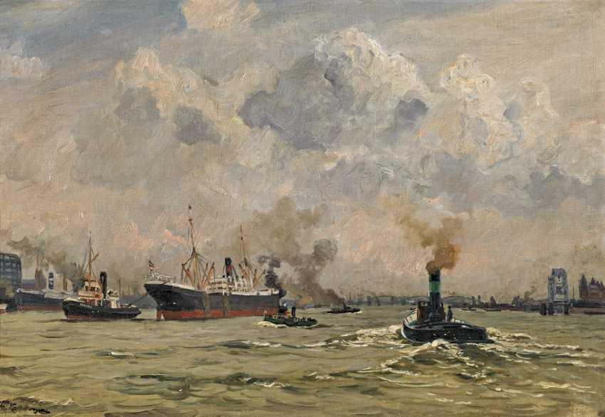 Kallmorgen, Friedrich. Ocean-going vessels in the port. - photo 1