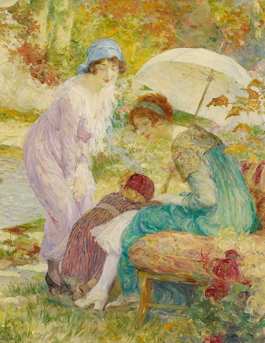 Zier, Edouard Francois. Two ladies with child in the Park. - photo 1