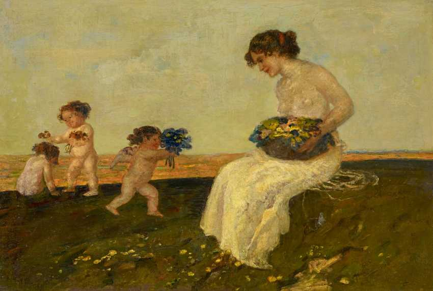 Marr, Carl von. Nymph with cupids and flowers basket. - photo 1