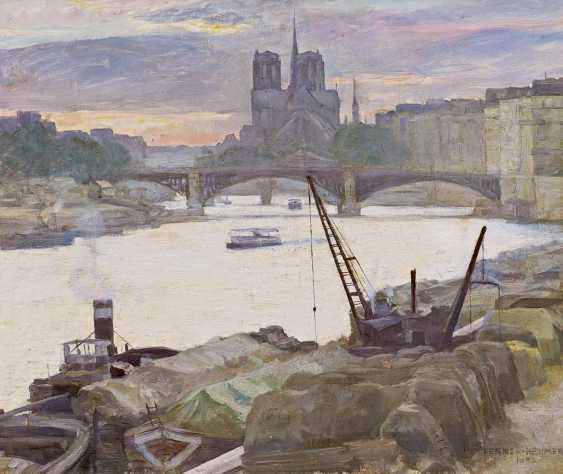 Fenner-Behmer, Hermann. Paris. Evening view over the Seine to Notre-Dame. - photo 1